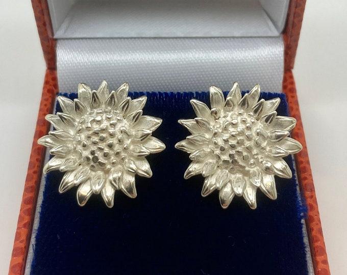 Sterling Silver Sunflower Earrings - Handmade Douglas Hughes Design
