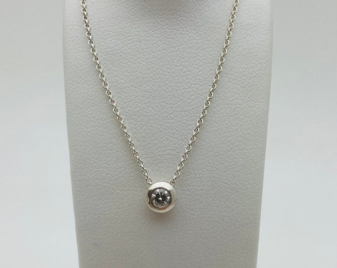 Floating Silver 15pt Diamond Pendant (with complimentary chain) - Handmade Douglas Hughes Design