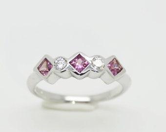 Pink Sapphire & Diamond Silver Ring - Handmade Douglas Hughes Design