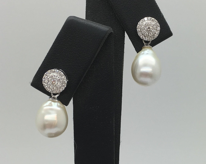 Diamond & Pearl Earrings - 18ct White Gold