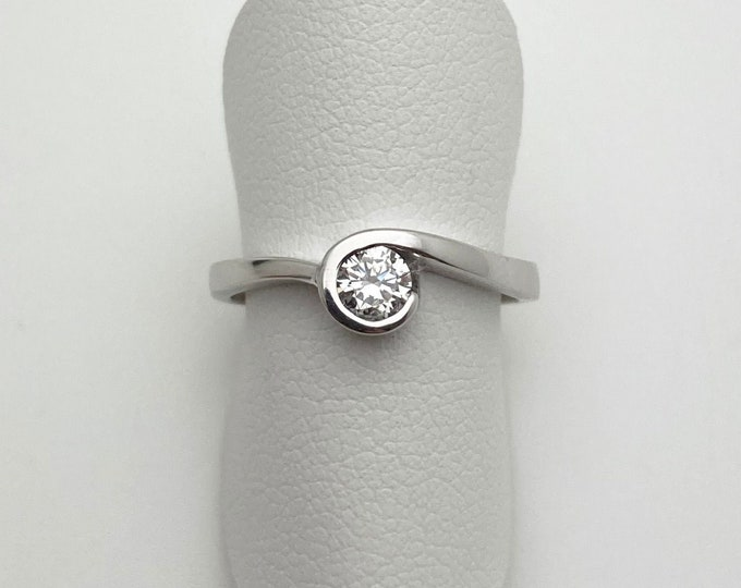 Cornish Diamond Wave Ring Set In 18ct White Gold - Handmade Douglas Hughes Design