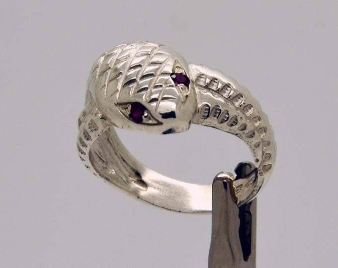 Handmade Ruby-eyed Snake Ring, Douglas Hughes Design