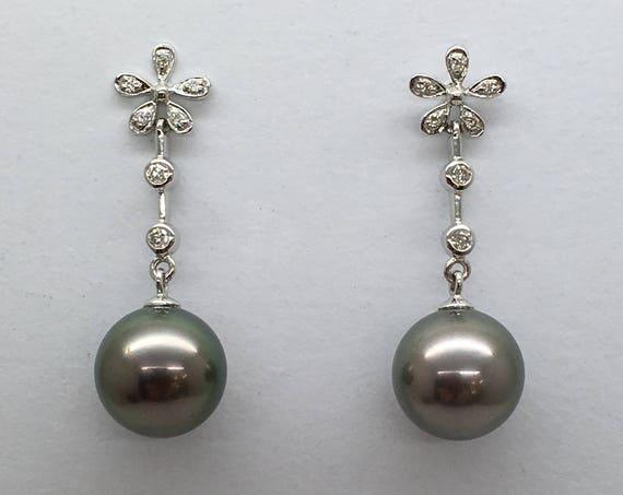 Tahitian & Diamond Drop Earrings - Elegant and Graceful Design