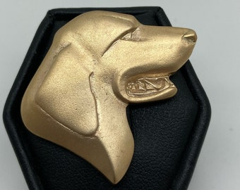 Solid 9ct Yellow Gold Dog Brooch, Handmade Douglas Hughes Design