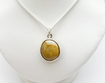 Highly Polished Cornish Beach Pebble Pendant (Honey Yellow, Medium), Set In Silver - Handmade Douglas Hughes Design