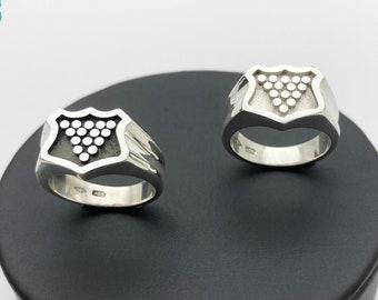 Solid Silver Cornish Bezant Ring (Oxidised/Satinised) - Handmade Douglas Hughes Design: Cornish Ring, Cornwall Ring, Signet Ring