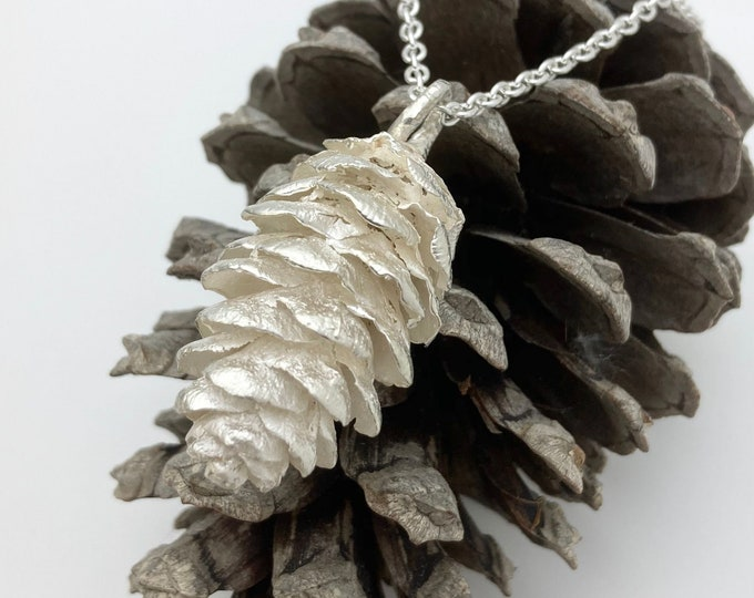 Heavyweight Solid Silver Pine Cone - One of a kind pendant/keepsake: Handmade Douglas Hughes Design