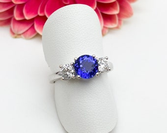 1 Carat Tanzanite & Diamond (2 x 0.23 Carat) Ring set in 18ct White Gold - Handmade Douglas Hughes