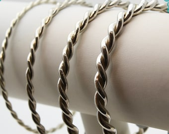 Solid Silver Twisted Cornish Bangles - Handmade Douglas Hughes Design