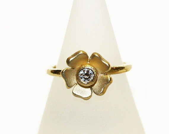 Flower Ring set with a Diamond - Handmade Douglas Hughes Design