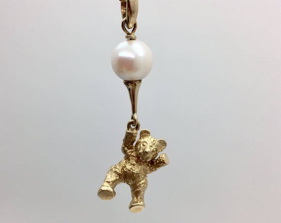 Teddy Bear & Balloon Pendant - Adorable 9ct Yellow Gold Teddy Bear with South Sea Pearl - Handmade Douglas Hughes Design
