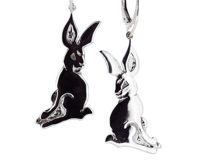 Solid Silver Hare Drop Earrings - Handmade by Douglas Hughes