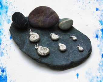 Handmade Solid Silver Ammonite Pendants (Large/Medium/Small), Douglas Hughes Design