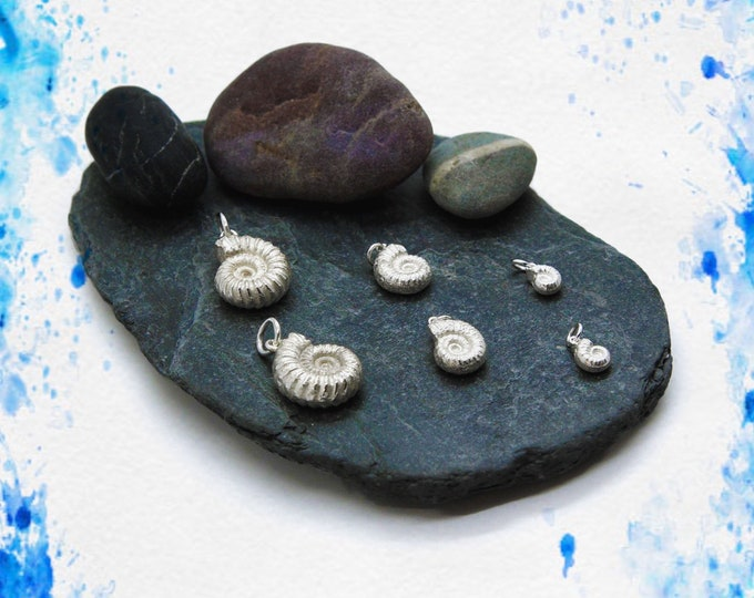 Handmade Solid Silver Ammonite Pendants (Large/Medium/Small), Douglas Hughes Design