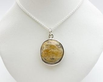 Highly Polished Cornish Beach Pebble Pendant (Cosmic Saturn, Large), Set In Silver - Handmade Douglas Hughes Design