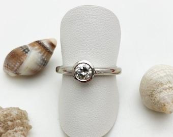 Silver Rub-over Set Solitaire Engagement Ring - Handmade Douglas Hughes Design