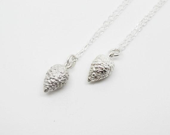 Silver Pine Cone Pendant - Cornish Solid Silver Pine Cone - Handmade in Cornwall - Douglas Hughes Fine Jewellery