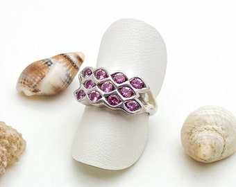 Pink Sapphire Silver Lattice Ring, Handmade Douglas Hughes Design: Sapphire, Pink Sapphire, Tension Set, Sapphire Ring, Pink