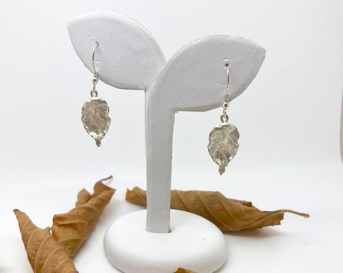 Silver Beech Leaf Earrings, Handmade Douglas Hughes Design
