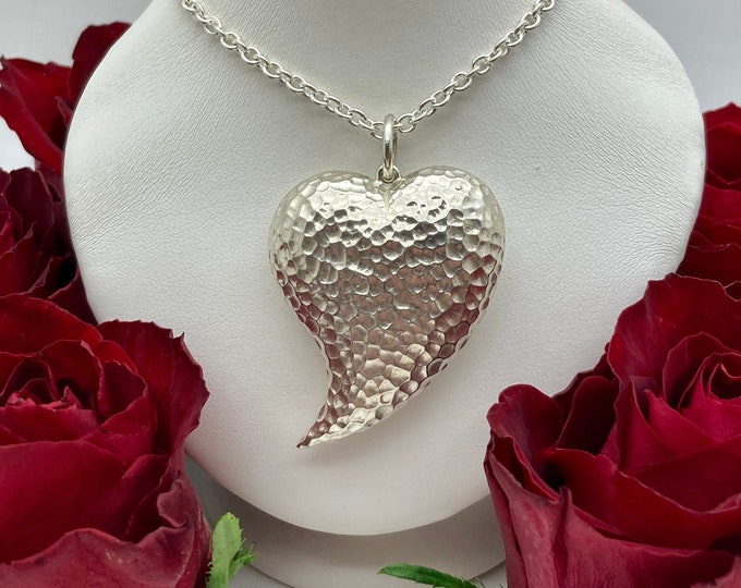 Large Hammered Silver Heart Pendant (One-of-a-kind) - Handmade Douglas Hughes Design: Heart Necklace, Heart Pendant, Valentines Day
