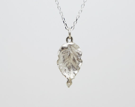 Silver Beech Leaf Pendant and Chain - Solid Silver Beech Leaf Pendant - Handmade in Cornwall - Douglas Hughes Fine Jewellery