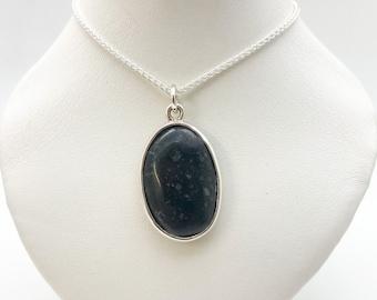 Highly Polished Cornish Beach Pebble Pendant (Volcanic Black, Extra Large), Set In Silver - Handmade Douglas Hughes Design