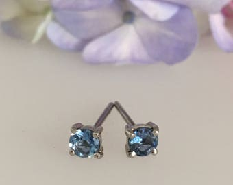 Aquamarine & Platinum Stud Earrings - Douglas Hughes Design Handmade in Cornwall