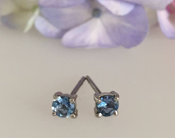 Aquamarine & Platinum Stud Earrings - Douglas Hughes Design Handmade in Cornwall