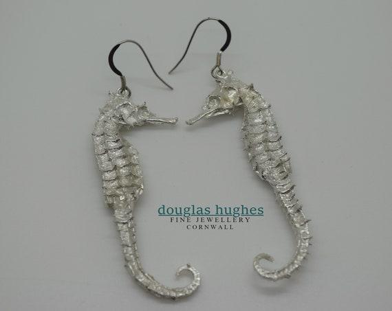 Seahorse Silver Earrings - Handmade Douglas Hughes