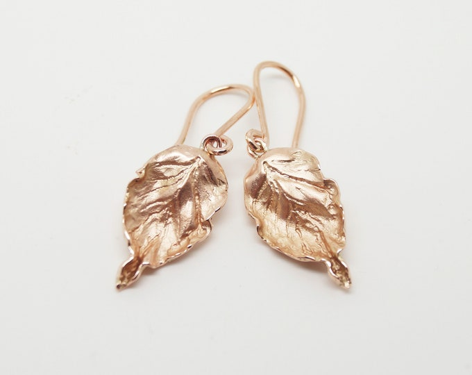 Rose Gold Beech Leaf Earrings - Solid Rose Gold - Handmade in Cornwall - Douglas Hughes Fine Jewellery
