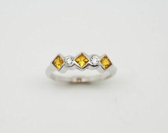 Yellow Sapphire & Diamond Silver Ring - Handmade Douglas Hughes Design