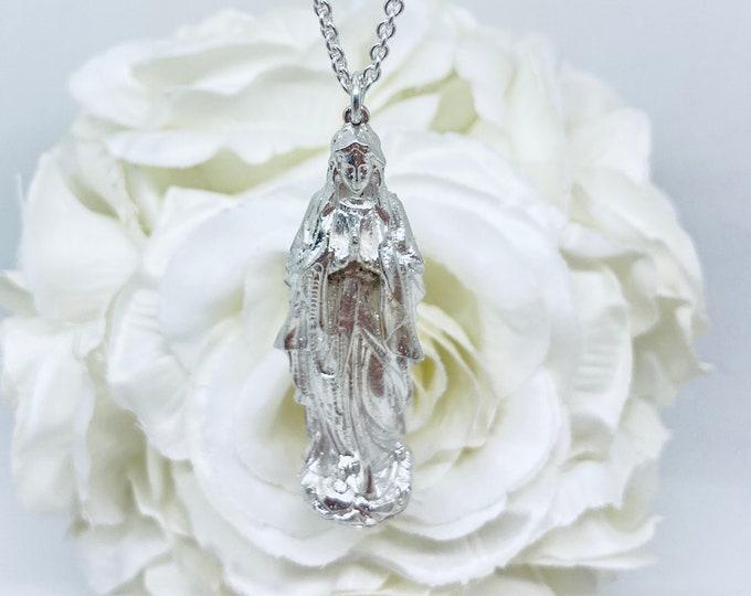 Solid Silver Mother Mary Pendant - Handmade Douglas Hughes Design (Free UK Postage)