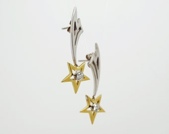 Shooting Star Diamond Earrings, 18ct White & Yellow Gold Diamond Earrings, Handmade in Cornwall - Douglas Hughes Design