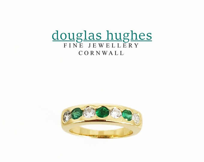 18ct Yellow Gold Emerald & Diamond Ring - Handmade Douglas Hughes Design