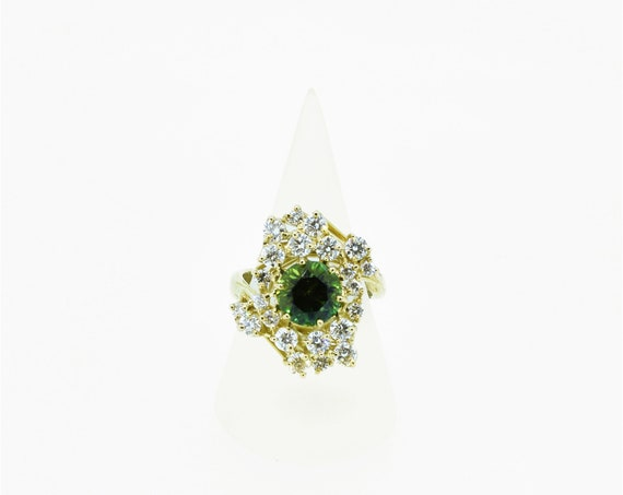Green Tourmaline & Diamond 18ct Yellow Gold Ring - Handmade Douglas Hughes Design