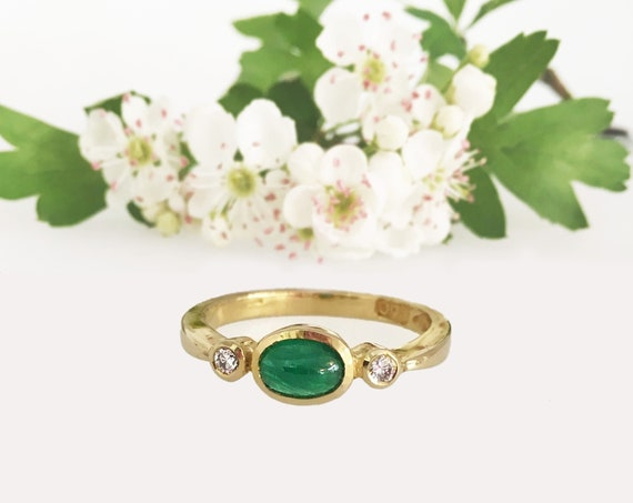 Emerald & Diamond Ring - Douglas Hughes Design - 18ct Yellow Gold