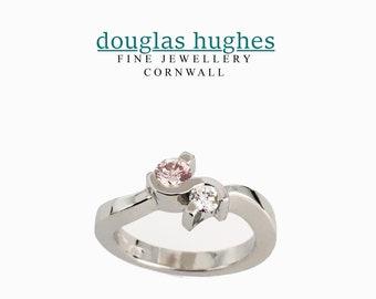 Pink and White Diamond Crossover Platinum Ring - Handmade Douglas Hughes Design