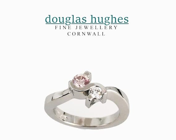Natural Pink Diamond Crossover Platinum Ring - Unique Douglas Hughes Design