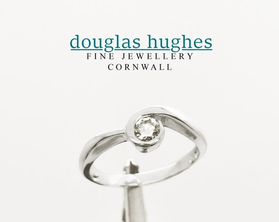 Cornish Wave Ring - Diamond & 18ct White Gold - Douglas Hughes Design Handmade in Cornwall