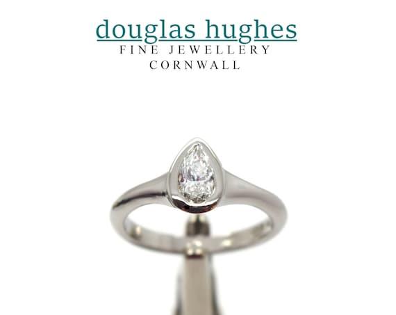 Pear Shape Diamond & Platinum Ring - Handmade Douglas Hughes Design
