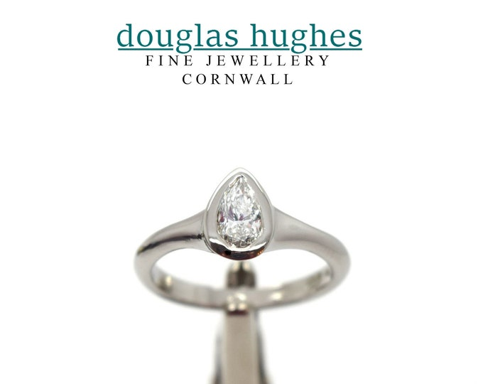 Pear Shape Diamond & Platinum Ring - Handmade Douglas Hughes Design