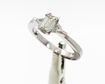 Stunning E Colour Diamond Trilogy Platinum Ring - Handmade Douglas Hughes Design