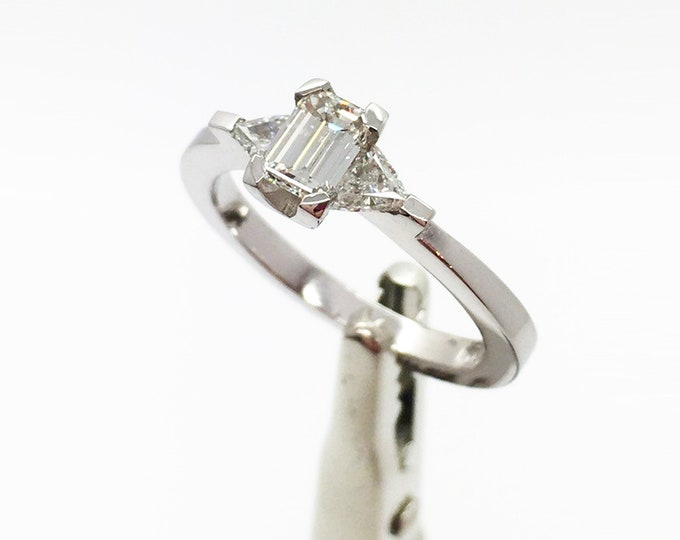 Stunning E Colour Diamond Trilogy Platinum Ring - Handmade Douglas Hughes Design