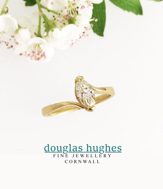 Diamond Ring - Stunning .78ct Marquise Solitaire Ring - 18ct Doug Hughes Design