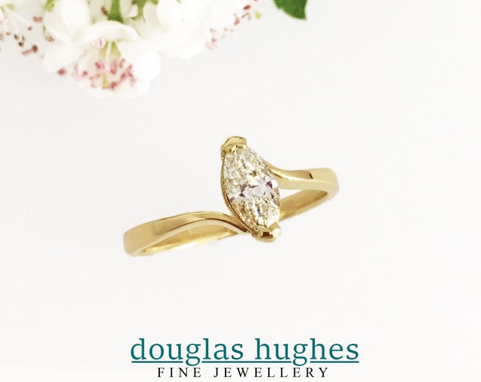18ct Yellow Gold .78 Marquise Solitaire Ring - Douglas Hughes Design