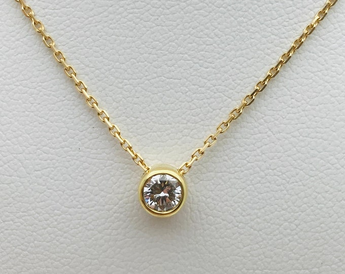 Floating Diamond Pendant - Stunning 0.41pt GH Clarity Diamond set in 18ct Yellow Gold