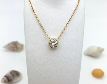 Floating Diamond Pendant - Stunning 0.41pt GH Clarity Diamond set in 18ct Yellow Gold
