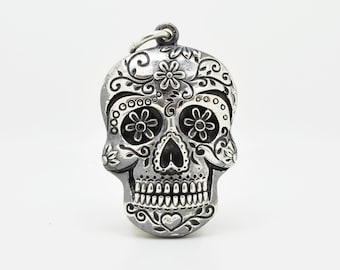 Handmade Sugar Skull Pendant, Douglas Hughes Design: Sugar Skull Necklace, Sugar Skull Jewellery, Silver Skull Pendant, Day of the Dead Gift