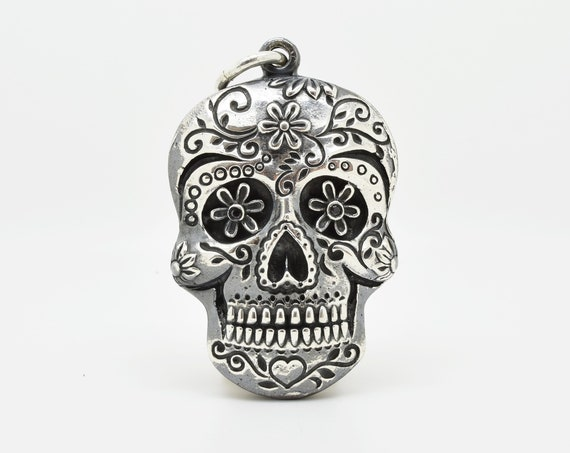 Heavyweight Silver Sugar Skull Pendant, Dias Los Muerto Jewellry, Day of the Dead - Handmade by Douglas Hughes