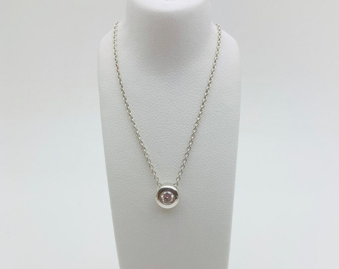Floating Silver 25pt Diamond Pendant (with complimentary chain) - Handmade Douglas Hughes Design